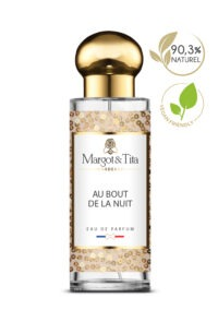 30ml perfume All night long from the brand Margot&Tita. Floral scent composed on top of pear, tangerine, bergamot, in heart, cardamom, rose, apricot, red fruits and in base amber, vanilla, sandalwood, musky and caramel.